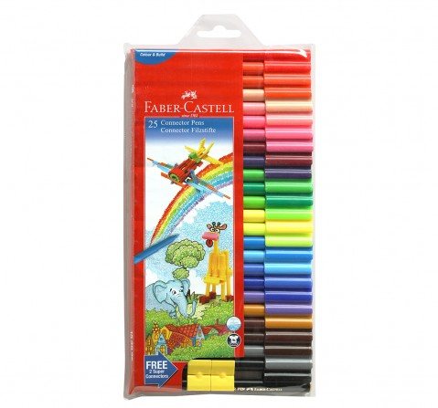 Faber-Castell Connector Pens -Pack of 25 , 5Y+ (Assorted)