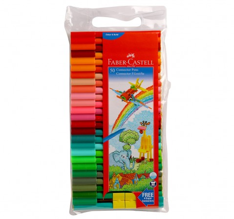 Faber-Castell Connector Pens Pack of 50 , 5Y+ (Assorted)