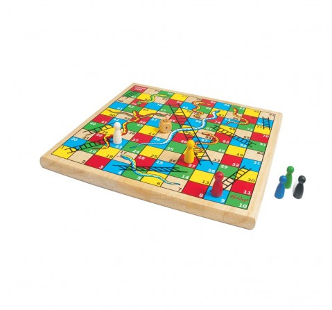 Hamleys Wooden Snakes and Ladders Multi Color Board Game for Kids age 6Y+