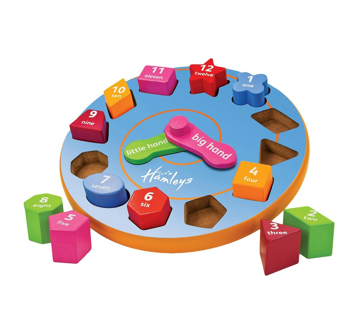 Hamleys Wooden Teaching Time Clock Wooden Toys for Kids age 18M +