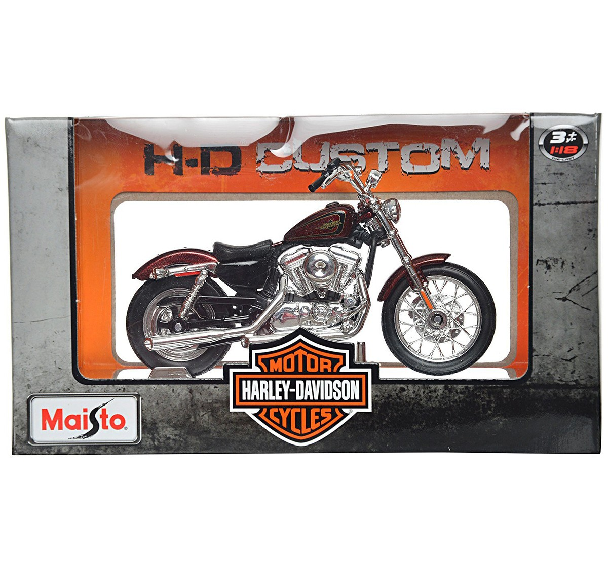 Maisto Harley Davidson 2012 Xl 1200V 1:18 Die Cast Toy Motorcycle for Kids age 3Y+ (Red)