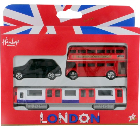 Hamleys London Vehicle Trio Pack (Bus/ Taxi/ Tube Carriage) Vehicles for Kids age 4Y+