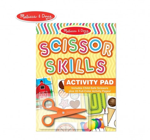 Melissa & Doug Scissor Skills Activity Book 20 pages (Animal & People Play Set, Pair Of Child-Safe, Scissors Included) Wooden Toys for Kids age 3Y+