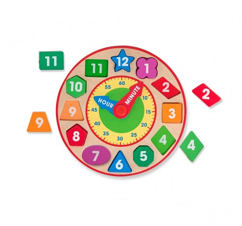Melissa & Doug Shape Sorting Clock Wooden Toys for Kids age 3Y+