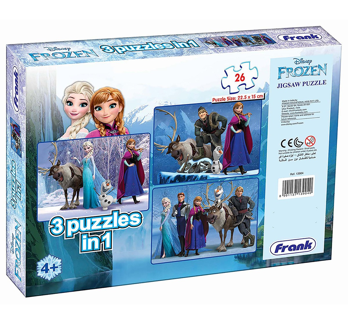 Frank Frozen 3 In 1 Puzzle Puzzles for Kids age 5Y+