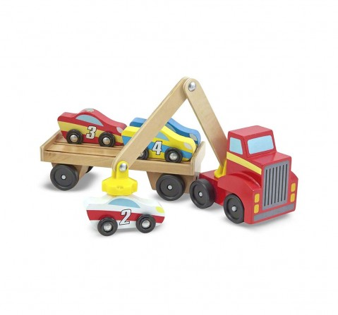 Melissa And Doug Magnetic Car Loader Wooden Toys for Kids Age 3Y+