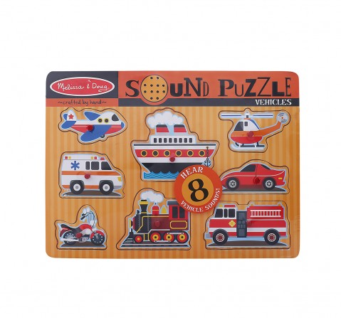 Melissa & Doug Vehicles  Puzzle (Wooden Peg  With Sound Effects, 8 Pieces) Toys for Kids age 24M+