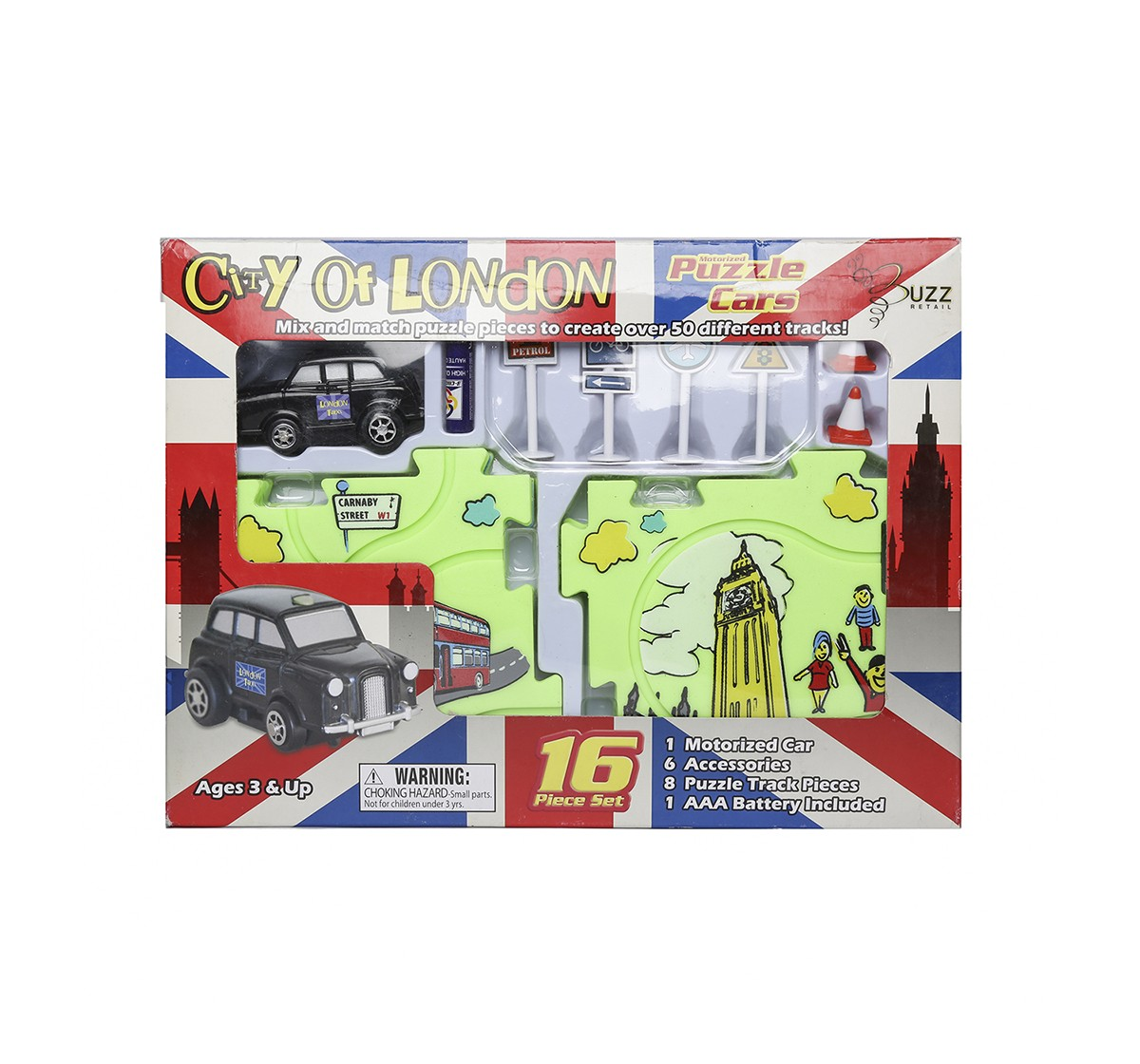 Hamleys Buzz Retail Puzzle Car Taxi Track Set Novelty for Kids age 5Y+