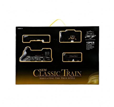 Comdaq New Classical Train 12 PCS with  Trackset for Kids age 3Y+ (Black)