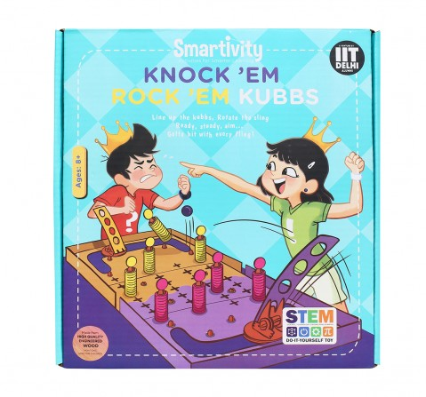 Smartivity Knock 'Em Rock 'Em Kubbs : Stem, Learning, Educational and Construction Activity Toy Gift for age 8Y+  (Multi-Color)