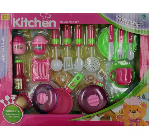 Comdaq Kitchen Set with Crockery and Cutlery for Girls age 3Y+