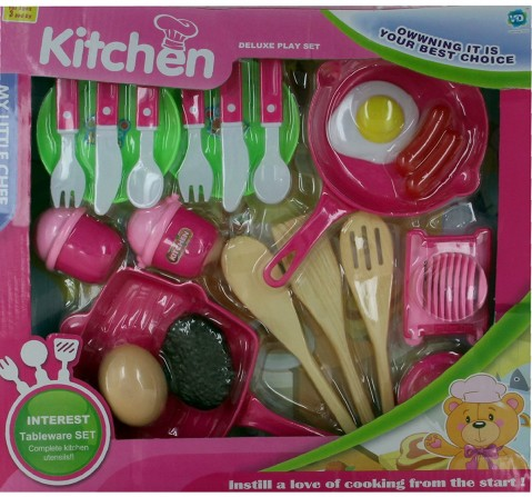 Comdaq Pans And Cutlery Kitchen Set for Girls age 3Y+