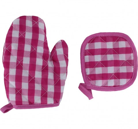 Comdaq Deluxe Chef Apron Mitten Set for Girls age 3Y+