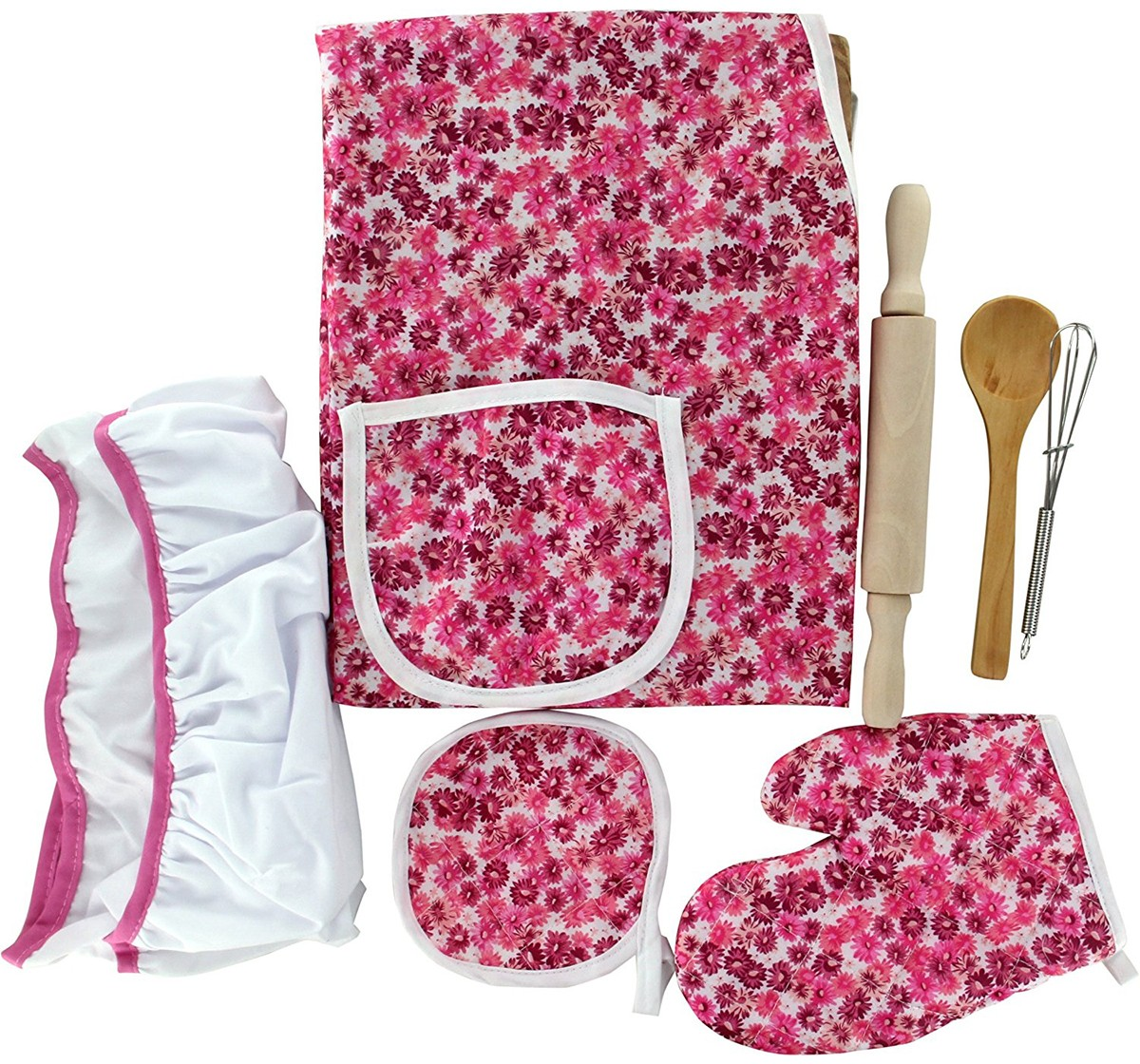 Comdaq Deluxe Chef Set for Girls age 3Y+ (White/Pink)
