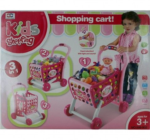 Comdaq Shopping Cart With Light And Music Playset for Girls age 3Y+ (Pink)