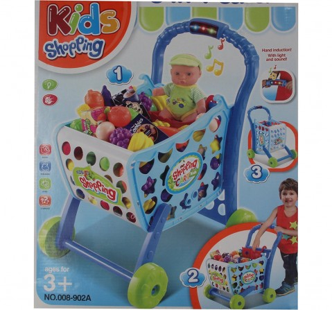 Comdaq Shopping Cart Playset with Light And Music for Girls age 3Y+ (Blue)