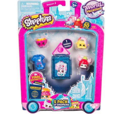 Shopkins Season 8 America Toy 5 Pack Collectable Dolls for Girls age 4Y+