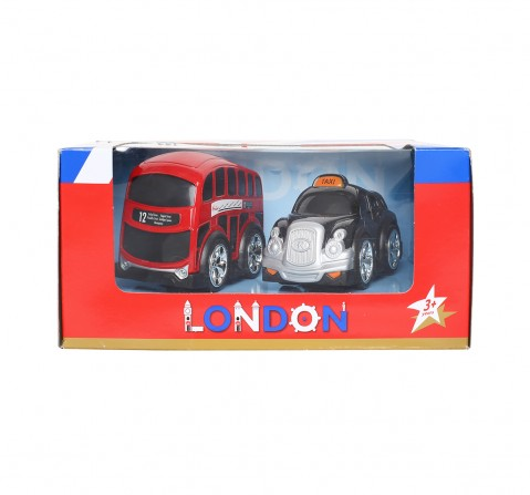 Hamleys London Bus And Taxi Playset (Red) Vehicles for Kids age 3Y+ (Red)