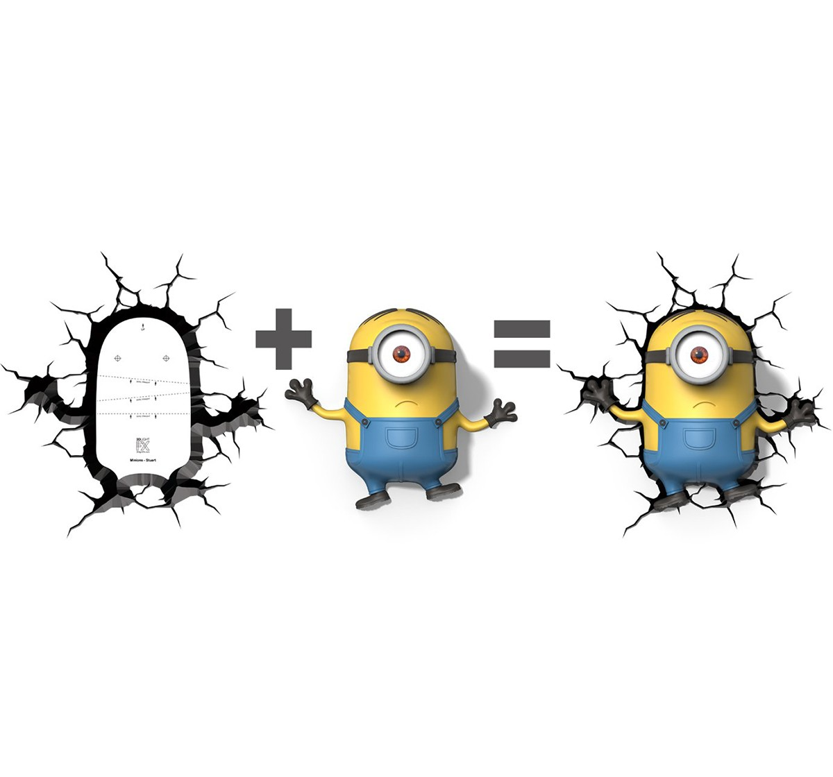 Minions Plastic and Metal 3D Deco Led Wall Light (31.75 Cm X 7.62 Cm X 26.66 Cm) for Kids age 4Y+