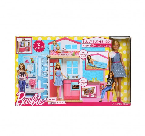 Barbie 2 Story House And Doll, Multi Color Doll House & Accessories for Girls age 3Y+