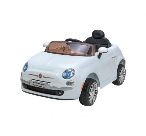 Chilokbo Fiat 500 Battery Operated Ride-on Car White Battery Operated Rideons for Kids age 18M + (White)