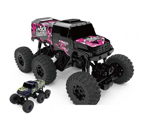 Rw 1:8 6 Wheel drive Monster Truck Rock Crawler Black & Purple Remote Control Toys for Kids Age 8Y+