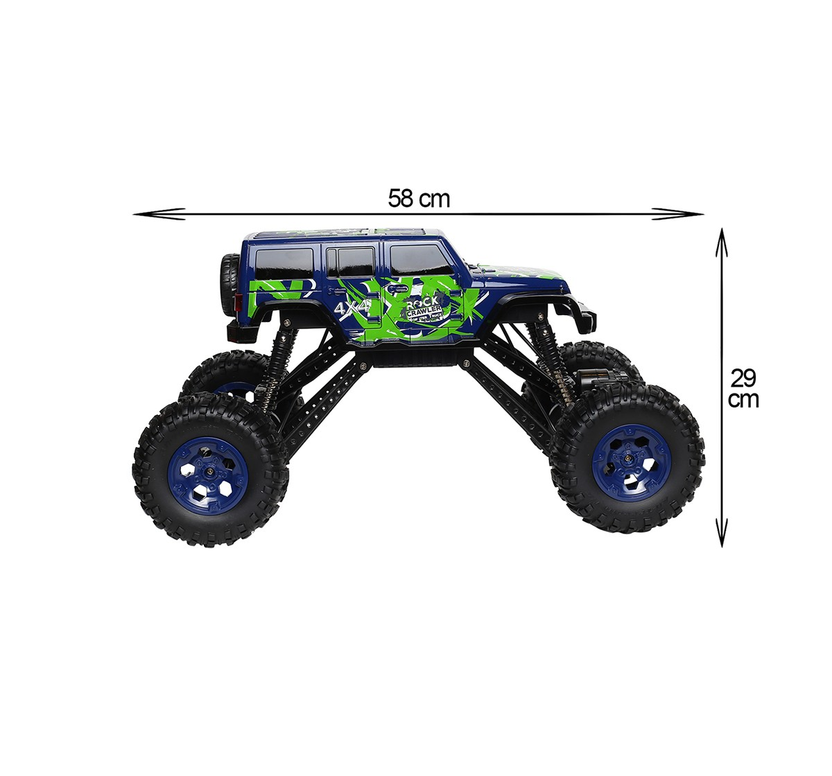 RW 1:10 4WD Monster Truck Rock Crawler Blue & Green Remote Control Toys for Kids age 8Y+ (Red)