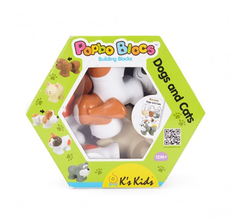 K'S Kids Doggy And Kitty Blocks - Multicolour New Born for Kids age 12M+