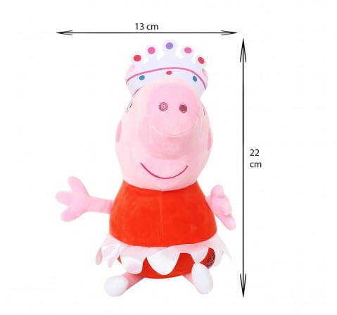 Peppa Pig with Crown Multi Color 30 Cm Soft Toy for Kids age 3Y+ - 13 Cm