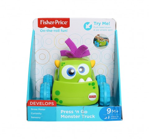 Fisher Price Press N Go Monster Truck- Green Early Learner Toys for Kids age 9M+ (Green)