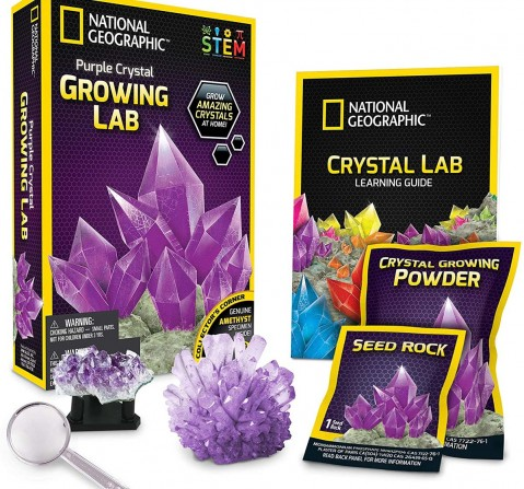 National Geographic Purple Crystal Growing Lab - Diy Crystal Creation Science Kits for Kids age 8Y+
