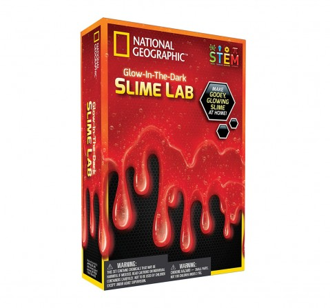 National Geographic DIY Science Lab Make Glowing Slime for Kids age 6Y+ (Red)