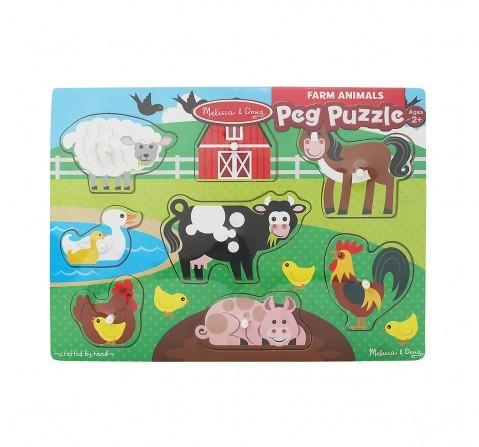 Melissa & Doug Farm Wooden Peg Puzzle (8 Pieces) Toys for Kids age 24M+