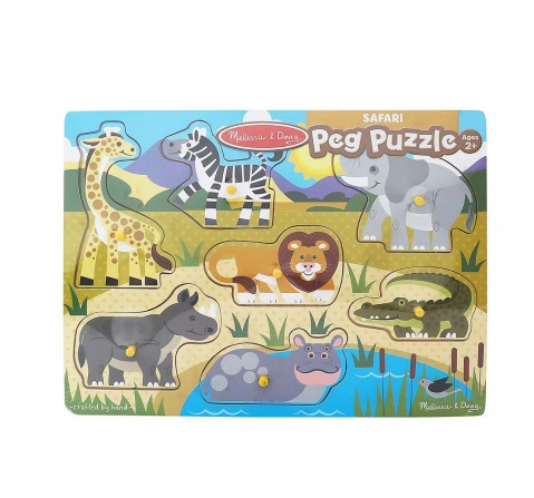 Melissa & Doug Safari Peg Puzzle (Colorful Animal Artwork, Extra-Thick Wooden Construction, 7 Pieces) Wooden Toys for Kids age 24M+