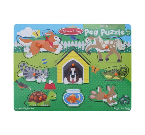 Melissa & Doug Pets Peg Puzzle (Colorful Animal Artwork, Extra-Thick Wooden Construction, 8 Pieces) Wooden Toys for Kids age 24M+