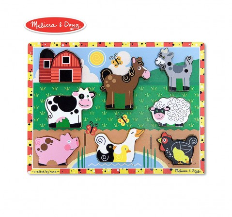 Melissa & Doug Farm Puzzle (Preschool, Chunky Wooden, Full-Color Pictures, 8 Pieces) Toys for Kids age 3Y+