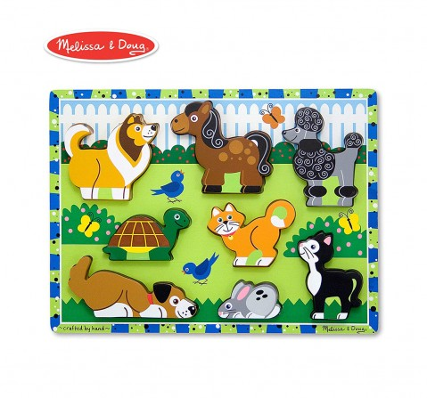 Melissa & Doug Pets Chunky Puzzle, Multi Color Wooden Toys for Kids age 3Y+