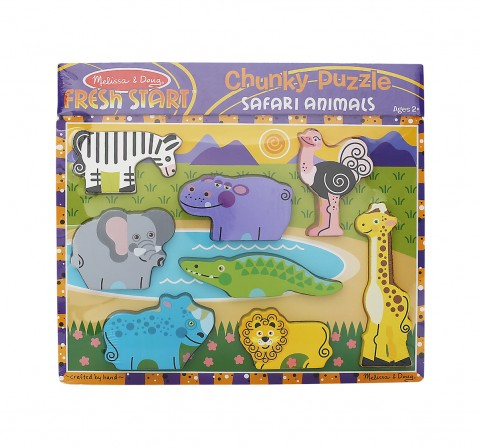 Melissa & Doug Safari Wooden Chunky Puzzle (Preschool, Full-Color Pictures, 8 Pieces) Toys for Kids age 24M+