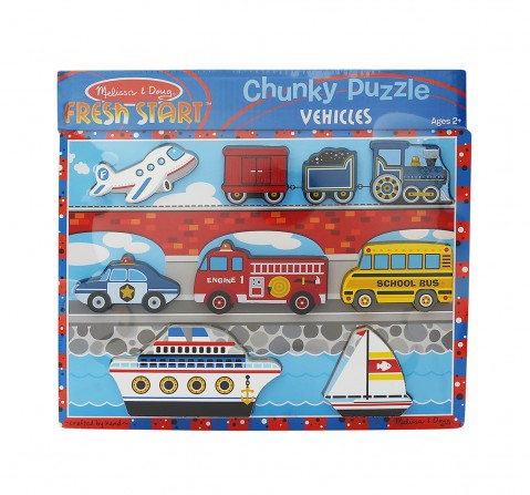Melissa & Doug Vehicles Chunky Wooden Puzzle, Multi Color Toys for Kids age 24M+