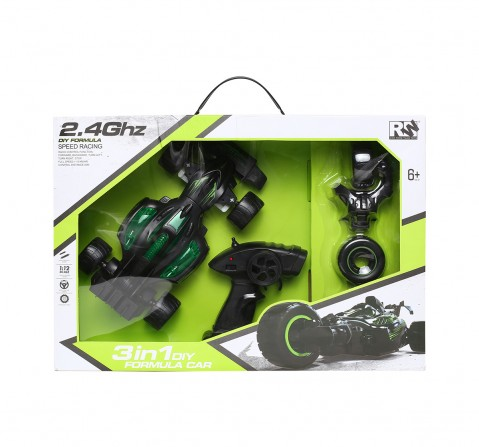 Rw 3 In 1 Diy Formula Car Remote Control Toys for Kids age 6Y+ (Black)
