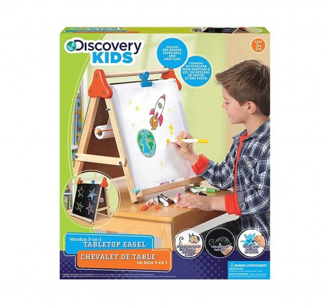 Discovery Kids Wooden 3In1 Tabletop Easel Activity Table & Boards for Kids age 3Y+