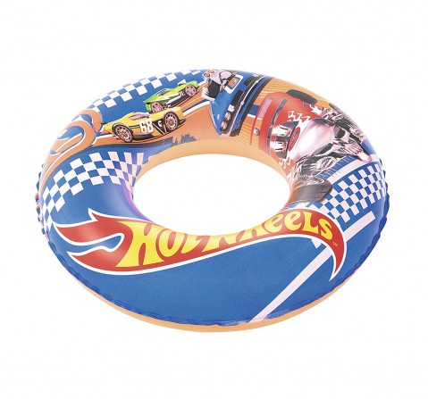 Bestway Hot Wheels Swim Ring | Baby Swim Float | Swim Ring 56Cm | Age 3 To 6 Years -Multi Color Outdoor Leisure for Kids age 3Y+