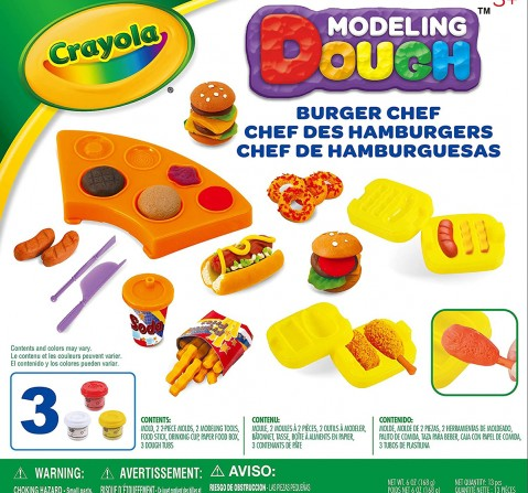 Crayola Modeling Dough Burger Chef Kit Clay & Dough for Kids age 3Y+