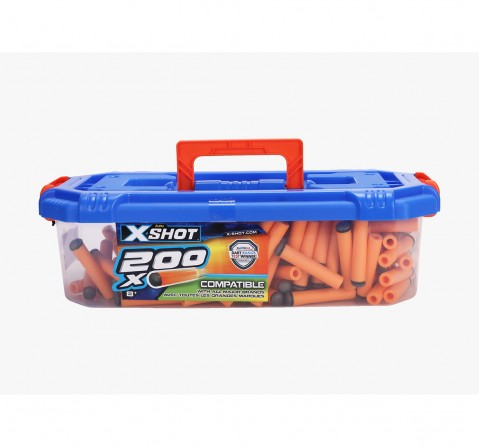 X-Shot 200 Darts Refill with Carry Case Target Games  for Kids age 8Y+ (Orange)