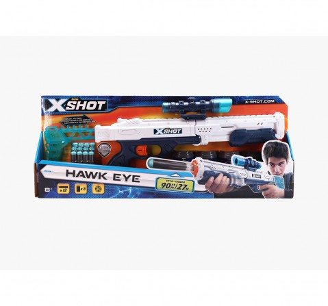 X-Shot Plastic Excel Hawk Eye 5 Cans With 12 Dart Blasters for Kids age 8Y+ (White)