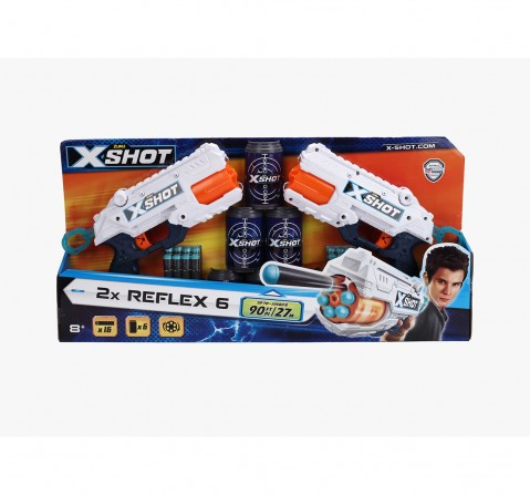 X-Shot Excel Reflex 6 Combo Pack Blasters for Kids age 6Y+ (White)