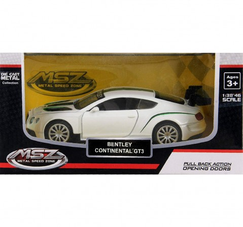 MSZ 1:32 Bentley Continental GT3 Car with Light and Sound for Kids age 3Y+ (White)
