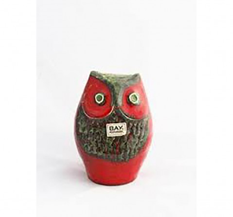 Karma Pottery Owl Money Box- Red Novelty for Kids age 3Y+ (Red)