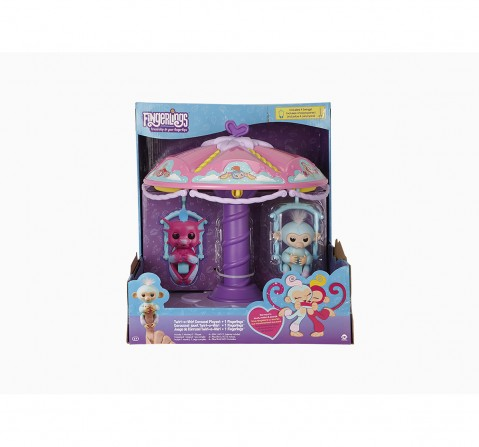 Wowwee Playset: Twirl-A-Whirl Carousel With 1 Fingerlings Baby Monkey - Abigail Robotics for Kids age 5Y+