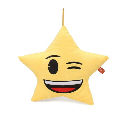 My Baby Excel Emoji Star Winking Eyes Face 30 Cm Plush Accessory for Kids age 1Y+  (Yellow)